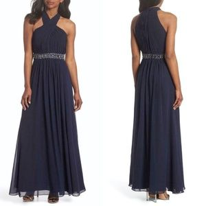 ELIZA J Navy CHIFFON Halter Cross Neck JEWEL GOWN
